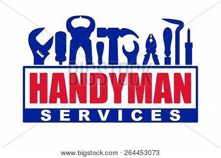 Handyman Services Vector Design For Your Logo Or Emblem With Red Caption And Set Of Blue Workers Too