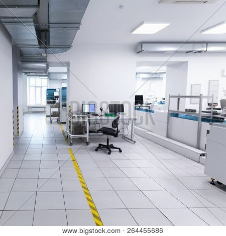 Saint-petersburg, Russia - April 6, 2018: Clinical Laboratory Square Interior With Blood Analyzer Eq