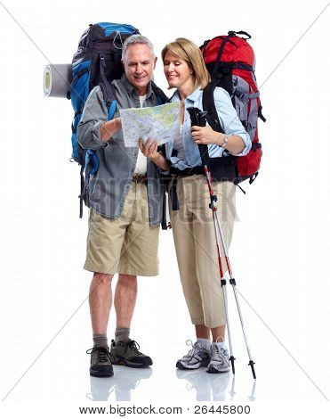 Tourist. Senior couple hiking. Isolated on white background.
