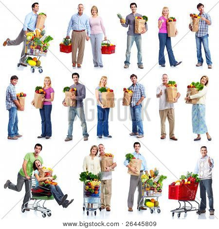 Group of shopping people with vegetables and fruits. Isolated over white background.