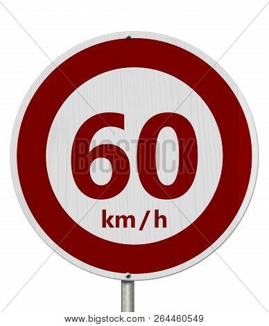Red And White 60 Km Speed Limit European Style Sign Isolated Over White 3d Illustration