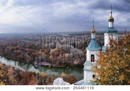 Panoramic View From The Observation Deck Of The Sviatohirsk St. Nicolas Church And Siversky Donets.