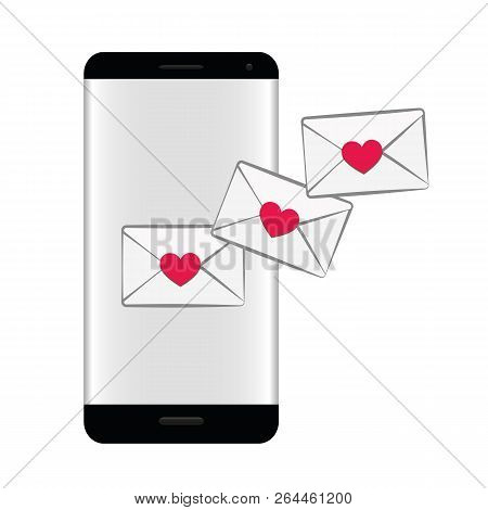 Smartphone With Love Message Online Dating Concept Vector Illustration Eps10