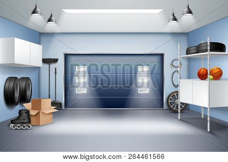 Modern Spacious Garage Interior Realistic Composition With Storage Cabinets Racks Roller Skates Tire