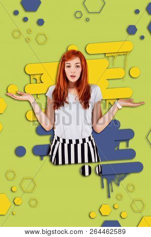 Red-haired girl making a helpless gesture while having no answer for the question poster