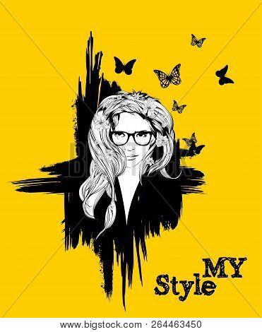Beautiful Women Face. Fashion Girls Illustration. Young Woman Face