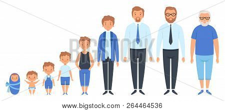 Male Different Ages. Newborn Teenage Boy Man Person Old Grandfather Adult Peoples Vector Clipart Iso