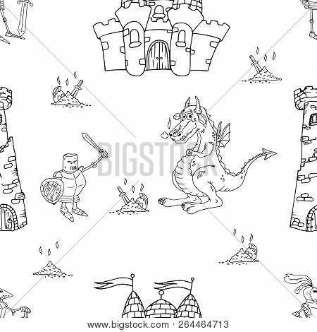 Dragon, Knight, Castle With Towers Seamless Pattern. Vector Illustration Of A Seamless Pattern Of Fa