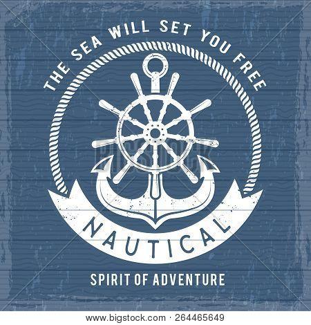 Nautical Anchor Poster. Ocean Marina Navy Symbols At Boat Or Ship For Retro Sailor Placard. Vintage