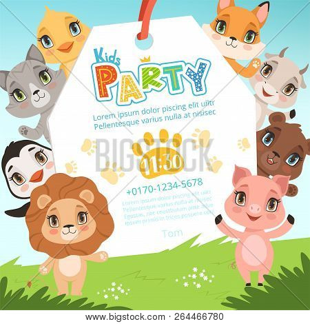 Animals Kids Invitations. Cute Funny Jungle Animals In Cartoon Style Placard At Baby Birthday Celebr