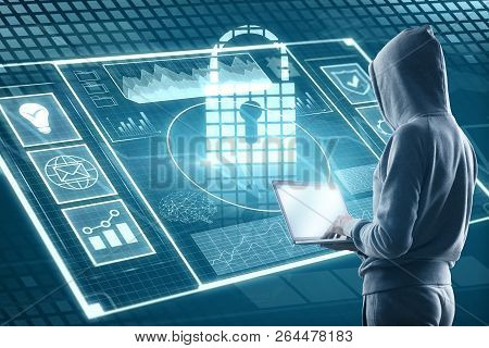 Side View Of Hacker Using Laptop With Digital Business Interface. Hacking And Malware Concept. 3d Re