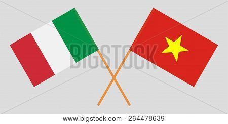 Socialist Republic Of Vietnam And Italy. The Vietnamese And Italian Flags. Official Colors. Correct
