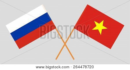 Socialist Republic Of Vietnam And Russia. The Vietnamese And Russian Flags. Official Colors. Correct