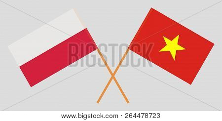 Socialist Republic Of Vietnam And Poland. The Vietnamese And Polish Flags. Official Colors. Correct