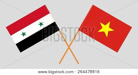 Socialist Republic Of Vietnam And Syria. The Vietnamese And Syrian Flags. Official Colors. Correct P