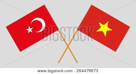 Socialist Republic Of Vietnam And Turkey. The Vietnamese And Turkish Flags. Official Colors. Correct