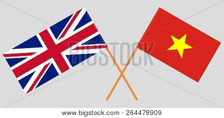 Socialist Republic Of Vietnam And Uk. The Vietnamese And British Flags. Official Colors. Correct Pro