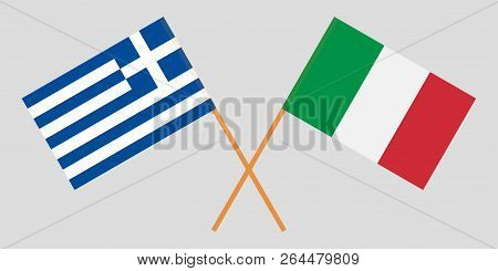 Greece And Italy. Crossed Greek And Italian Flags. Official Colors. Correct Proportion. Vector Illus
