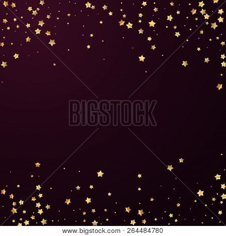Gold Stars Random Luxury Sparkling Confetti. Scattered Small Gold Particles On Red Maroon Background