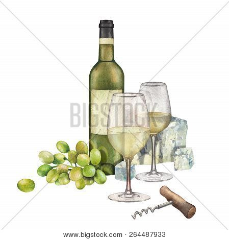 Two Watercolor Glasses Of White Wine, Bottle, White Grapes And Cheese
