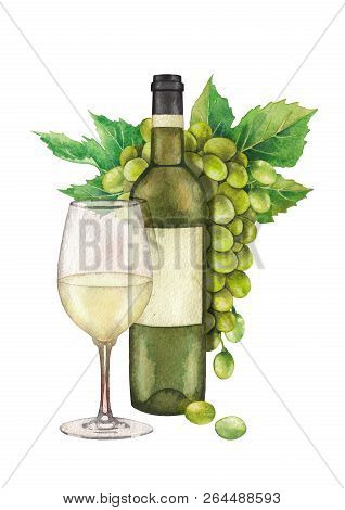 Watercolor Glass Of White Wine, Bottle And Bunch Of White Grapes With Leaves