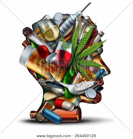 Concept Of Drug Addiction And Substance Dependence As A Junkie Symbol Or Addict Health Problem With