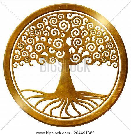 world tree life tree wheel gold medallion pendant poster