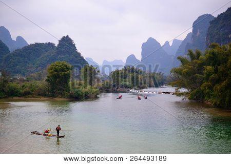 Bamboo Rafting In Li River Guilin, Yulong River Yangshuo, Guangxi China