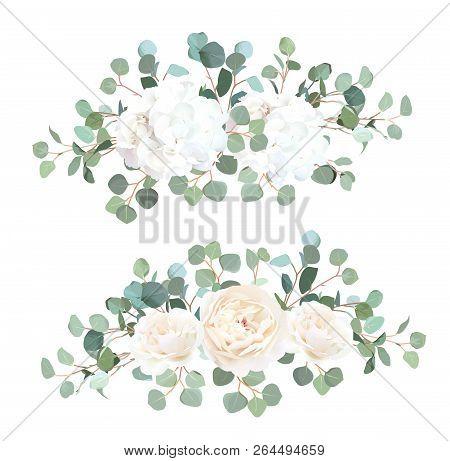 Silver Dollar Eucalyptus, White Rose And Hydrangea Vector Design Garland Bouquets. Cute Rustic Weddi