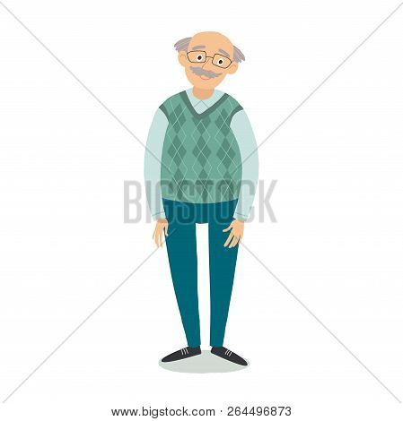 Senior Man Standing. Old Man Wearing Glasses. Grandfather With Grey Hair, Mustache, Wearing Sweater.