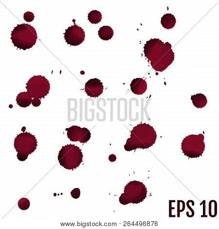 Blood Isolated On White, Halloween Concept. Vector Illustration