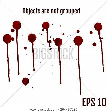 Dripping Blood Isolated On White. Vector Set Of Different Blood