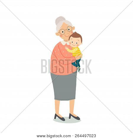 Portrait Of Cute Old Woman With A Baby . Grandmother Wearing Glasses. Senior Lady With Grandchild. G