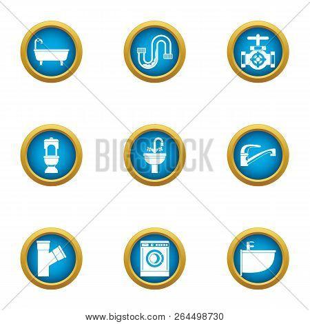 Latrine Icons Set. Flat Set Of 9 Latrine Vector Icons For Web Isolated On White Background
