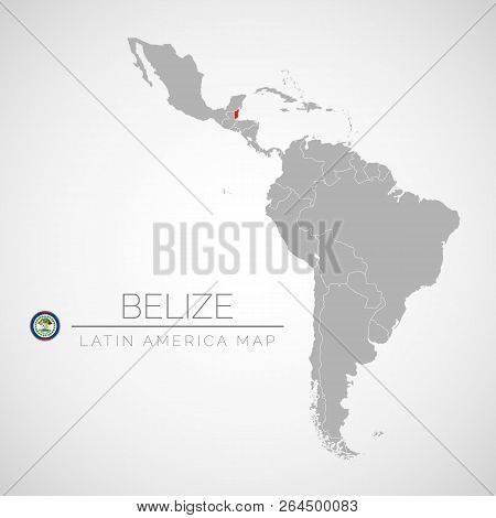 Map Of Latin America With The Identication Of Belize. Map Of Belize. Political Map Of America In Gra