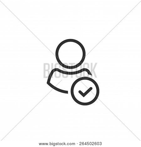 Profile With Checkmark Icon Vector, Line Outline Art User Account Accepted Symbol With Tick, Approve