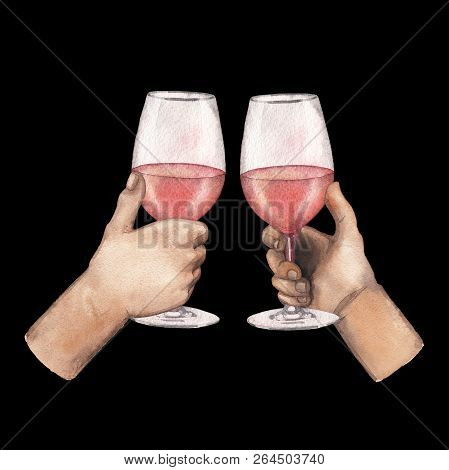 Two Watercolor Hands Holding Rose Wine Glasses Iolated On Black Background