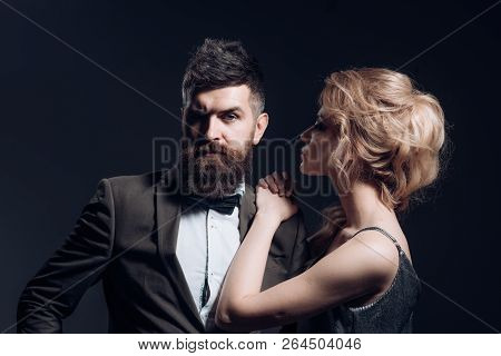 Love Is The Answer. Couple In Love. Bearded Man And Sexy Woman On First Date. Couple Of Man And Woma
