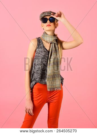 Hipster Woman With Fashion Makeup. Fashion Portrait Of Woman. Hip Hop Girl With Fashionable Hair. Be