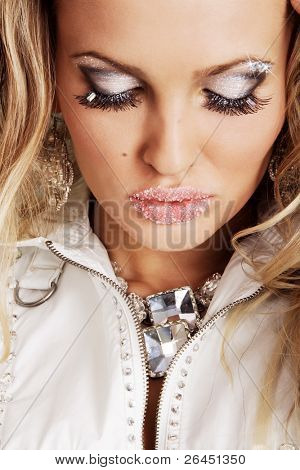 Beautiful woman with creative makeup, focus on lips