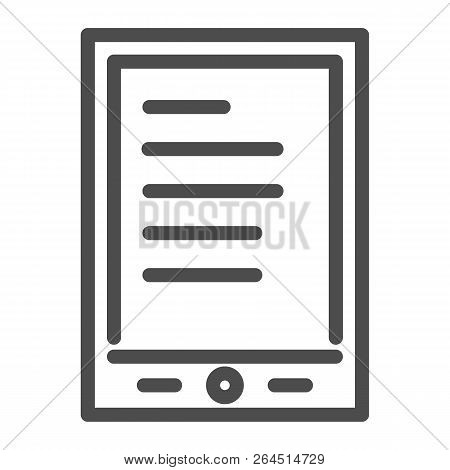 Tablet Ereader Line Icon. Digital Tablet With Text Vector Illustration Isolated On White. Ebook Outl