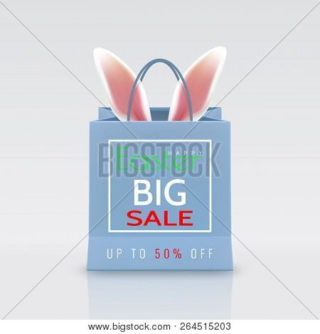 Happy Easter Sale. Realistic Paper Shopping Bag With Handles Isolated On White Background. Vector Il