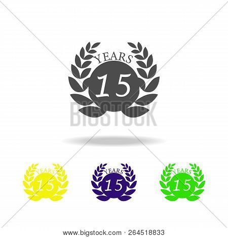 15 Years Anniversary Sign Color Icon. Element Of Anniversary Sign Color Icon. Signs And Symbols Coll