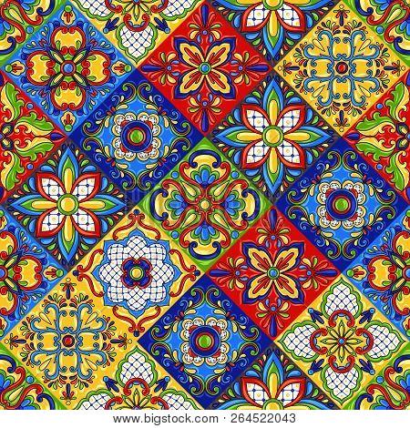 Mexican Talavera Ceramic Tile Seamless Pattern. Ethnic Folk Ornament. Italian Pottery, Portuguese Az