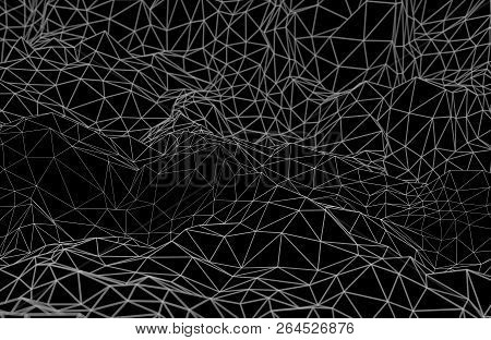 Abstract Futuristic Illustration Of Polygonal Surface. Low Poly Shape With Connecting Dots And Lines