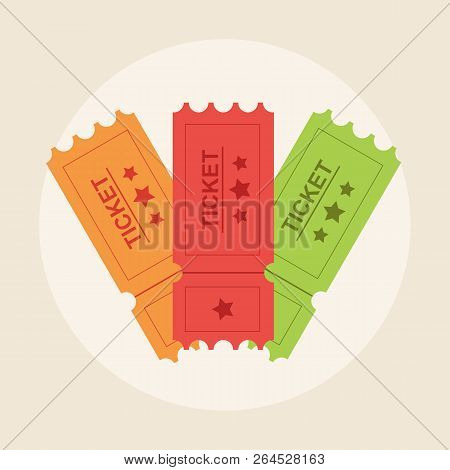 Ticket Icon Vector Illustration In The Flat Style. Ticket Stub Isolated On A Background. Retro Cinem