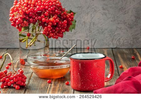 Still Life Berries Of A Viburnum In A Glass And Mug Of Hot Tea And Honey On A Wooden Table. Autumn C