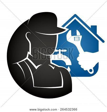 Plumbing Repair At Home Vector Icon Logo