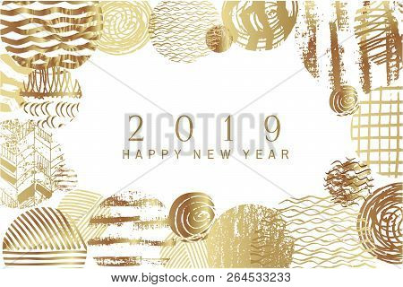 2019 Happy New Year -golden  Art  Backgrounds For Your Template Posters, Banners, And Greetings Card