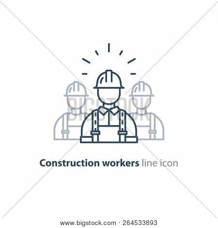 Construction Workers In Hard Hat And Jumpsuit, Builders In Uniform, Contractor Man, Manual Labor, Ve